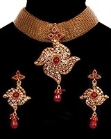 Antique 22k Effect Mesh Choker Necklace Set NARP11540 Indian Jewellery