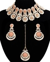 Statement Floral Indian Kundan Necklace Jewellery Set - peach LAPK11541 Indian Jewellery