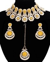 Statement Floral Indian Kundan Necklace Jewellery Set - pale yellow LAPK11542 Indian Jewellery