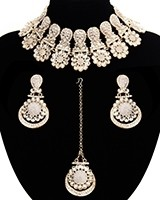 Statement Floral Indian Kundan Necklace Jewellery Set - white LAWK11543 Indian Jewellery