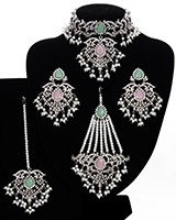 Silver Mughal Princess Indian Jewellery Set - Choker, Ear, Tikka & Jhumar - baby pink & mint green NSPC11546 Indian Jewellery