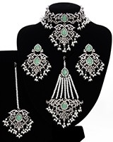 Silver Mughal Princess Indian Jewellery Set - Choker, Ear, Tikka & Jhumar NSWC11562C Indian Jewellery