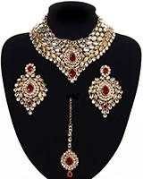Statement Kundan Collar Necklace Set - white NAWK11565C Indian Jewellery
