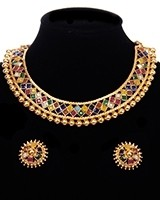 Traditional Bright Multi-colour Indian Collar Necklace & Stud Earrings NEMP11649 Indian Jewellery