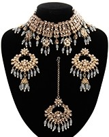 Wide Asian Indian Choker Set NANK11663C Indian Jewellery