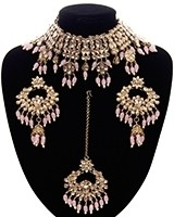 Wide Asian Indian Choker Set - baby pink NAPK11660 Indian Jewellery