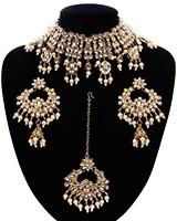 Wide Asian Indian Choker Set - gold champagne NANK11662 Indian Jewellery