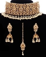 Pearl & Champagne Wide Choker Set NENK11669 Indian Jewellery