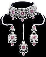 Silver Traditional Pakistani Pearl Choker Set NSWC11673C Indian Jewellery