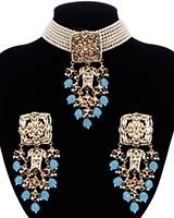Indian Heritage Pearl Choker Jewellery Set - Turquoise NELK11683 Indian Jewellery