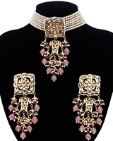 Indian Heritage Pearl Choker Jewellery Set - Baby Pink NEPK11686 Indian Jewellery