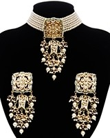 Indian Heritage Pearl Choker Jewellery Set - Pearl NEWK11687 Indian Jewellery