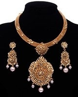 Designer 22k Gold Plated Peal Collar Necklace Set NEWP11689 Indian Jewellery