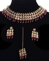 Flexible Champagne Antique Choker Set - Cheery Red NARK11693 Indian Jewellery