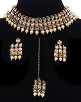 Flexible Champagne Antique Choker Set NANK11697C Indian Jewellery