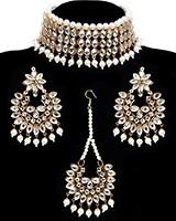 Mirrored Flexible Wide Choker - White Pearl NGWK11743 Indian Jewellery