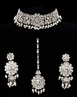 Silver, Pearl & Crystal Indian Choker Necklace Set NSWC11744 Indian Jewellery