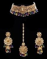Floral Asian Indian Multi-Coloured Choker Jewellery Set NAMC11745 Indian Jewellery