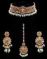 Floral Asian Indian Choker Jewellery Set - Mint Green NAGC11746 Indian Jewellery