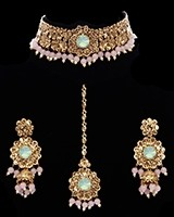 Floral Asian Indian Choker Jewellery Set - baby pink & mint green NAGK11659 Indian Jewellery