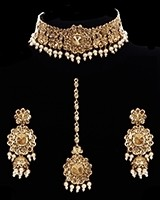 Pearl Floral Asian Indian Choker Jewellery Set NANC11749 Indian Jewellery