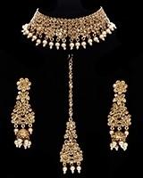Champagne Crystal & Pearl Choker Jewellery Set NANC11751 Indian Jewellery