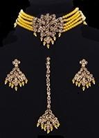 Delicate Beaded Indian Choker, Earrings & Tikka NAPA11767C Indian Jewellery