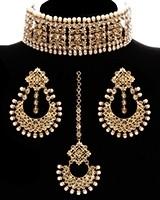 Light Gold, Champagne American Diamond Wide Choker Set NANA11770 Indian Jewellery