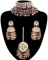 Multi-coloured Jadau Jewellery Set NGMP11786 Indian Jewellery