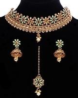 South Indian Delicate 22k Mint Green & Ruby Choker Set NENA11787 Indian Jewellery