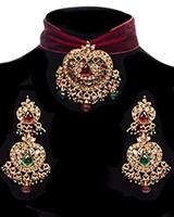 Indian Jewelled Maroon Velvet Choker Set NERC11788 Indian Jewellery