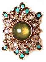 Ocean coloured Rajasthani cocktail ring AALP10916 Indian Jewellery
