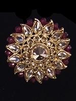 Indian Antique Cocktail Ring - American Diamond & Ruby Maroon RARA11819 Indian Jewellery