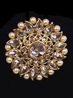 Indian Antique Cocktail Ring - Champagne American Diamond & Pearl RANA11820 Indian Jewellery
