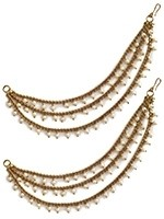 3-line Delicate Antique Pearl Saharas, Indian Earring Chains EAWL11029 Indian Jewellery