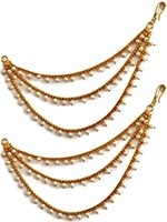 3-line Delicate Gold Pearl Saharas, Earring Chains EEWL11030 Indian Jewellery