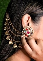 Dramatic 3-Line Jhumki Bell Indian Saharas (Earring Chains) EEWL11033 Indian Jewellery