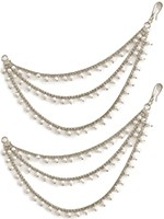 3-line Delicate Silver Pearl Saharas, Indian Earring Chains ESWL11366 Indian Jewellery