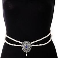 Silver Pearl & American Diamond Saree Belt - royal/indigo blue LSLL11367 Indian Jewellery