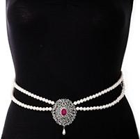 Silver Pearl & American Diamond Saree Belt - fuchsia pink LSPL11369 Indian Jewellery