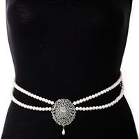 Silver Pearl & American Diamond Saree Belt - mint green LSGL11371 Indian Jewellery