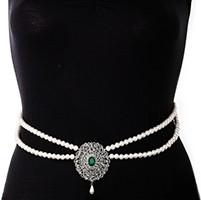 Silver Pearl & American Diamond Saree Belt - bottle green LSGL11372 Indian Jewellery