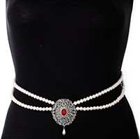 Silver Pearl & American Diamond Saree Belt - bright red LSRL11374 Indian Jewellery